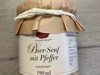 Gourmet Berner Bier Senf mit Pfeffer mittelscharf 190 ml Glasflasche