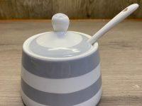 Krasilnikoff Danish Design, Zucker- Marmeladendose mit Löffel, weiß grau gestreift
