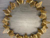 Türkranz Schmetterling, gold, Metall, Durchmesser 25 cm
