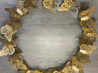 Türkranz Schmetterling, gold, Metall, Durchmesser 38 cm