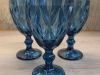 Weinglas, foliertes Glas, blau, 17 x 8,5 cm